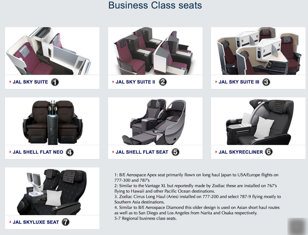 photo jl business class seats